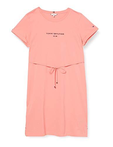 Tommy Hilfiger Damen Th ESS Hilfiger Reg C-nk DRS Ss Kleid, Rosa (Watermelon Pink), M