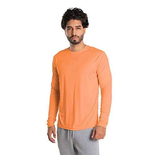 Vapor Apparel Men's UPF 50+ UV Sun Protection Long Sleeve Performance T-Shirt for Sports and Outdoor Lifestyle, Medium, Citrus