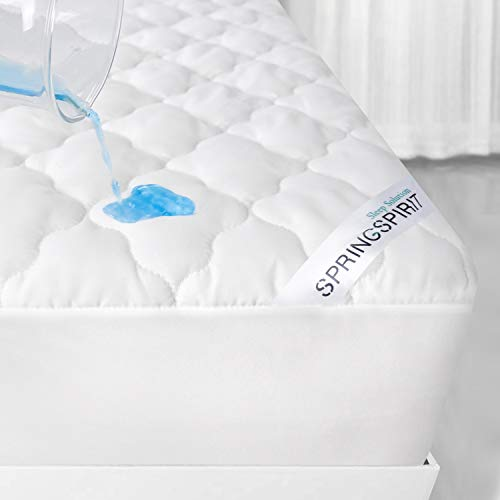 SPRINGSPIRIT Quilted Mattress Protector Single Bed Cover Extra Deep 35cm with Ultra Soft Padding for Single Bed 90 x 190cm