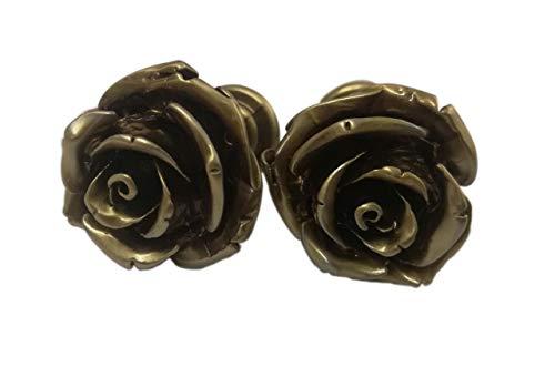 Bloem Rose vintage rétro Designer Knoppen. Antieke Bronzen metaal. Origineel model handgemaakt door Italiaanse ambachtslieden. Ideaal voor meubels, ladekast, kasten, dressoirs, kasten. In 1,1x1x 0,9