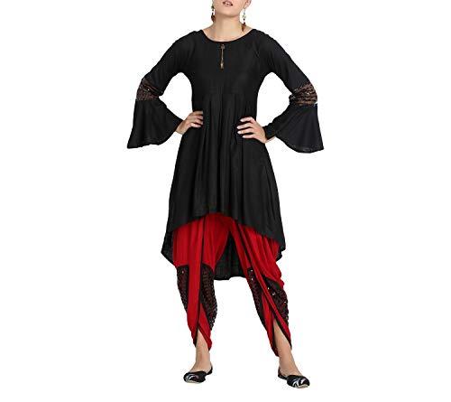 Crocon indisches traditionelles Pakistanisches Dhoti-Kurta-Set aus solider Viskose für formelle Anlässe und Partys Gr. XXL , rot