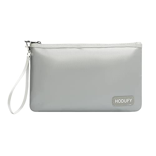 Fireproof Money Bag (2000℉), Fireproof Document Bags, Fireproof Bag, Money Bag, Bank Cash Bag with Zipper & Strap, Suitable for A5 Documents, Bank Inventory, Passport (Gray)