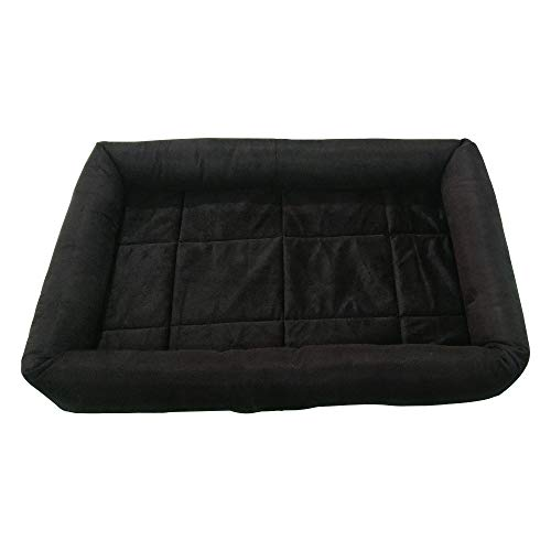 Mellifluous Rectangular Soft Velvet Pad Bed for Dogs & Cats (Small, Black)