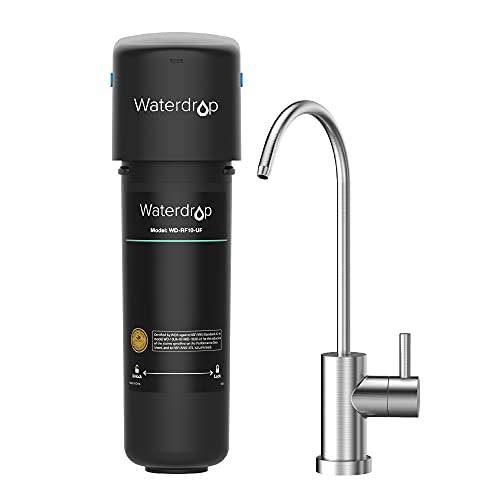 Waterdrop 10UB-UF Under Sink Water Filter for Baçtёria Reduction, NSF/ANSI 42 Certified, 0.01 μm Ultra Filtration, with Dedicated Faucet, 8K Gallons High Capacity, Idea for Renting, USA Tech