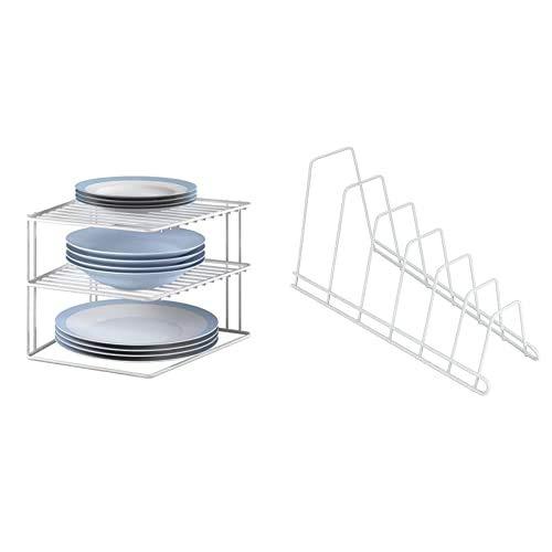 Metaltex Rinconera, Plata, Blanco, 3 Alturas + Space Line Estante apilable de Cocina, 45x19x18 cm, Blanco