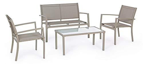 Juego de salón de jardín de acero, sofá de 2 sillones y mesa Duini Trenttortora
