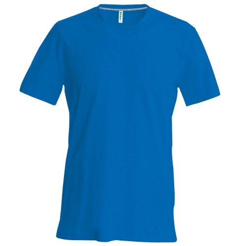 T-shirt à manches courtes et col en V coupe cintrée Kariban pour homme (L) (Bleu roi)