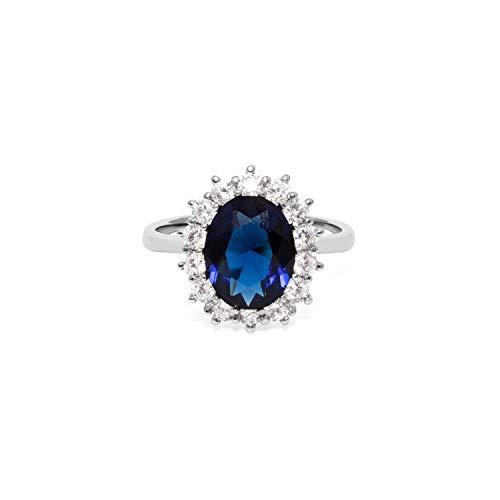 prettique® Damen Ring aus echtem 925 Sterlingsilber – 14 Hochwertige Zirkonia Steine – Funkelnder blauer Saphir – Anlaufschutz & Nickelfrei – Verlobungsring Kate (Silber, 60 (19.1))