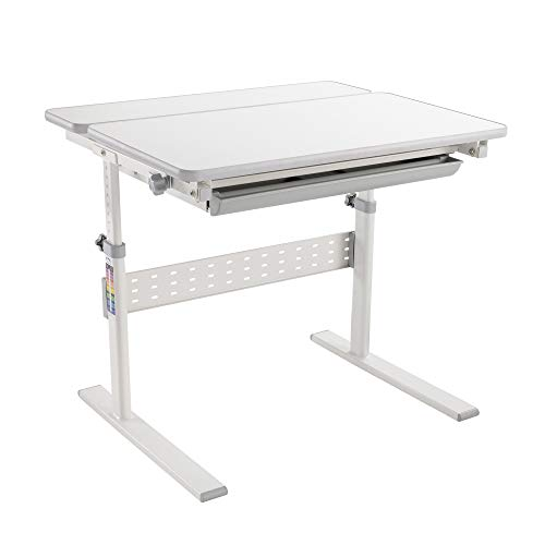 MOUNT-IT! Height Adjustable Desk for Kids [37.4' x 26'] Children's Workstation with Tilting Desktop and Drawer for Storage, Ergonomic Study Table for Writing, Drawing, Reading, Studying (GRAY)