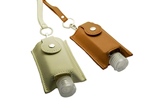 Hand Sanitizer Holder Keychain & Lanyard Carriers 60ml Flip Cap Reusable Empty Hand Sanitizer Bottles Portable Travel Size For Sanitizers Lotion Clips to Purse Travel Bag Diaper Bag (Cream & Brown)