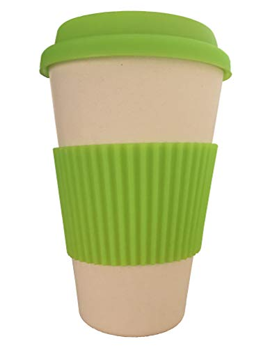 OLPRO Outdoor Leisure Products Reusable Bamboo Fibre Coffee Cup Travel Mug Silicone Sleeve Plastic Free Fully Biodegradable Husk Breaktime Beaker Mug Green