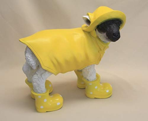 Vamundo Lustiges Deko Lamm Schaf mit Friesennerz und Gummistiefel gelb - wetterfest für Innen und Außen