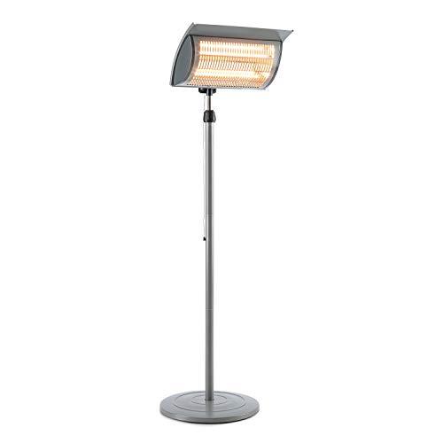 Blumfeldt Heat Guard Focus - Calefactor para la terraza, Radiador infrarrojo, IR ComfortHeat, 1000 o 2000 W, Fácil Uso, Halógeno, Altura Regulable, para Exteriores, Carcasa de Aluminio, Gris