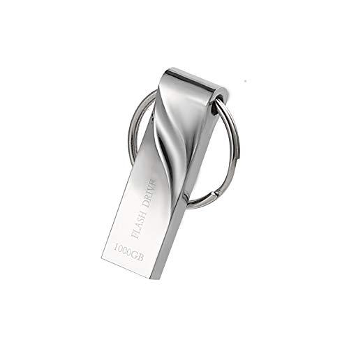 1TB Metal USB Flash Drive 1000GB Thumb Drive Pen Drive Waterproof Memory Stick with Keychain (Bright Silver)