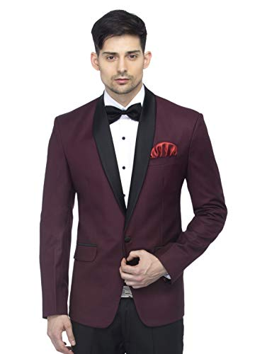 FAVOROSKI Designer Men's Slim Italian Fit Shawl Collar Tuxedo Suit Blazer, Wine