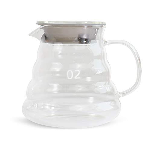 V60 Servidor de café de cristal, jarra de goteo de café, hervidor de café para verter sobre café y té, 650 ml