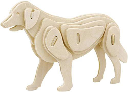 1 rompecabezas 3D de madera para perros, cortado con láser, para adultos y niños, decoración de mesa para el hogar o la oficina, regalo para los amantes de la artesanía, tamaño 13 x 3 x 9 cm