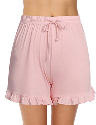 Aibrou Damen Schlafanzughose Kurz Schlafshorts Sommer Baumwolle Pyjamahose Nachtwäsche Kurze Sleep Hosen Sporthose (Pink-1, X-Large)
