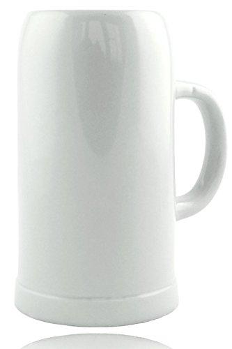 Steinzeug Biekrug 1,0l, Klassischer Bierkrug ohne Dekoration, Weiß, Steingut, Perfekte Geschenkidee für Sammler Ø 19 cm