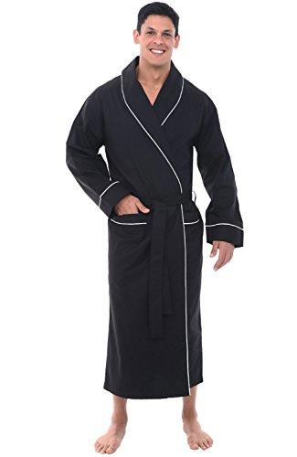 Alexander Del Rossa Mens Lightweight Cotton Robe, Large Black (A0715BLKLG)