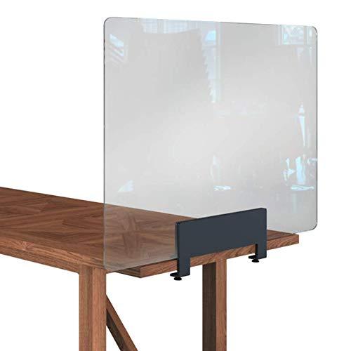 Rulopak Glastrennwand Plexiglas mit Tisch Klemme Metall, Trenner, Trennwand, Spuckschutz, Glas (B 120 cm x H 60,80 cm)