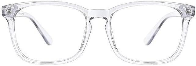 TIJN Blue Light Blocking Glasses for Women Men Clear Frame Square Nerd Eyeglasses Anti Blue Ray Computer Screen Glasses(Transparent)