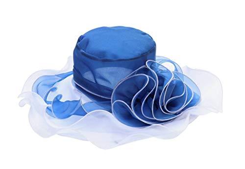 YiyiLai YiyiLai Modern Gegen Sonnenlicht Blume Deko mit Breite Krempe Sonnenhut Strandhüte Sommerhüte Einheitgröße Blau