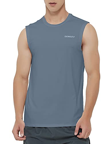 DEMOZU Men's Quick Dry Sleeveless Shirt Swim Beach Tank Top Workout Gym Bodybuilding Muscle Shirt, Grey, L