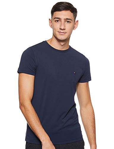 Tommy Hilfiger Herren CORE Stretch Slim CNECK Tee T-Shirt, Blau (Navy Blazer 416), Large