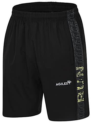 AGILEX Herren Trainingsshorts schnelltrocknend mit 2 x Reißverschlusstaschen (M)