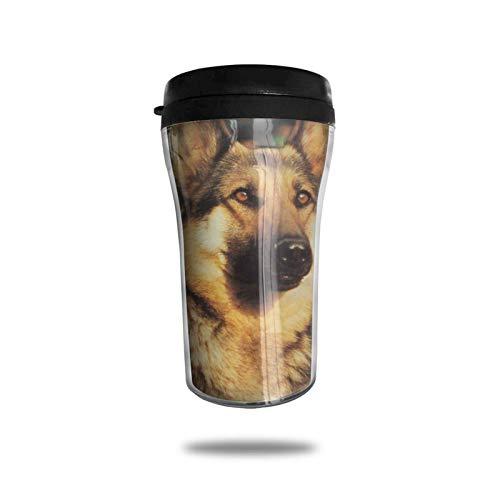 Taza de café de viaje con diseño de pastor alemán, taza de vacío portátil con impresión delicada, taza con aislamiento ABS de grado alimenticio, antiderrame (8.8 oz)