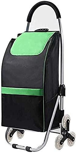 Eortzzpc Handwagen Klettern Treppen Klappwagen Auto Oxford Tuch Klappwagen Tragbare Falten Aluminiumwagen von Lebensmitteln,Trolley Cart für Multi-Use (Color : Green, Size : 35x46x100cm)