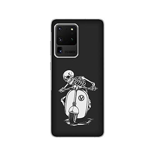 Funda Galaxy S20 Carcasa Compatible con Samsung Galaxy S20 Esqueletos en la Vespa Scooter/Imprimir también en los Lados. / Teléfono Hard Snap en Antideslizante Antideslizante Anti-Rayado Resistent