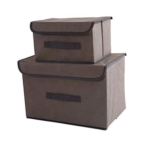 WUHE Cajas de almacenaje Caja de Almacenamiento con Tapa Pack de 2 Tela de almacenaje Plegable del Pecho por un Armario, Libros, Zapatos, Juguetes decoración Caja de almacenaje (Color : Light Brown)