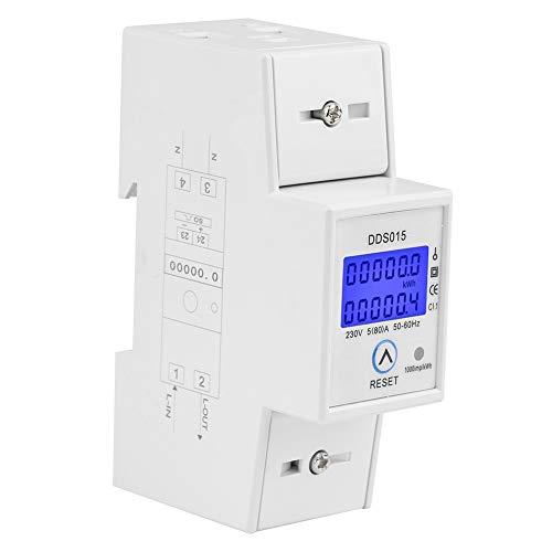 KWh Meter-5-80A 230V 50Hz Digital LCD Medidor de energía monofásico Watt Meter Montaje en riel DIN DDS015