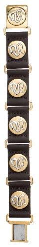 Pilgrim Herren-Armband M. Drachen Dragon Vergoldet, Braunes Lederband 19 cm 875-912