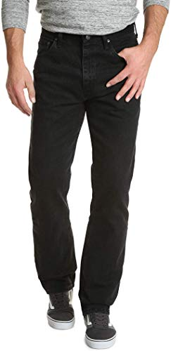 Wrangler Authentics Men Classic 5-Pocket Relaxed Fit Cotton Jean, Black, 40W x 32L