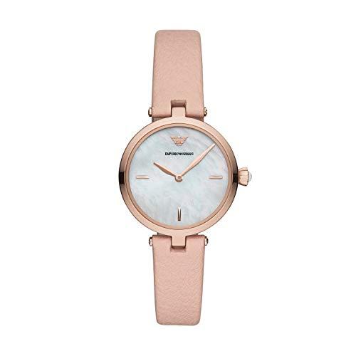 Emporio Armani Damen Analog Quarz Uhr mit Leder Armband AR11199