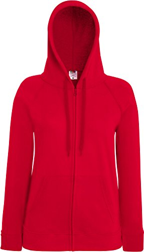 Fruit of the Loom Lady-Fit Lightweight Hooded Sweat Jacket 62-150-0 L,Red