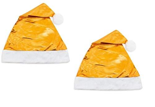 Lote de 12 Gorros de Navidad Metalizados Color Dorado. Gorro Nochevieja. Gorros navideños Papa Noel. Ideal para Fiestas navideñas