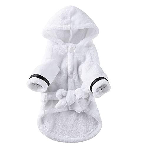 KIFFAY Pijama para Mascotas con Capucha Albornoz con Capucha de algodón Suave de Lujo Engrosado Secado rápido Toalla de baño súper Absorbente para Perros Ropa de Dormir Suave para Mascotas