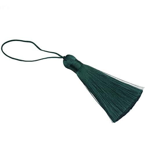 Makhry 8pcs 16 cm / 6.3 Pulgadas Chunky Borlas Suave Hecho a Mano Sedosa Borlas con 2.75 Pulgadas Cord Loop para Mujer Pendientes Joyería Hacer Acuerdo, Accesorio de Arte DIY (Verde Esmeralda)