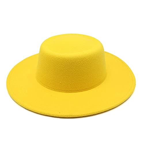ileibmaoz Fedora Trilby Sombrero De Vestir Anillo Sombrero De Otoño Mujer Retro Temperamento Británico Sombrero De Jazz De ala Grande Sombrero De Fieltro para Mujer-Yellow_M (56-58Cm)