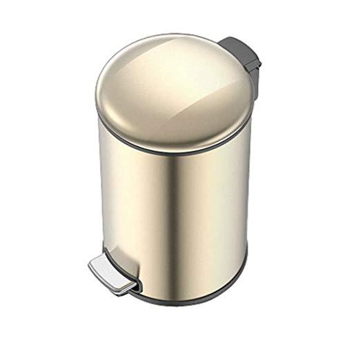 WYWY Papelera La Basura de Lata Redonda de Cierre Suave Cubo de Basura con Pedal Bar, con extraíble Interior Papelera for la Cocina, Oficina y Hogar Cubo de Basura (Color : Gold 5L)