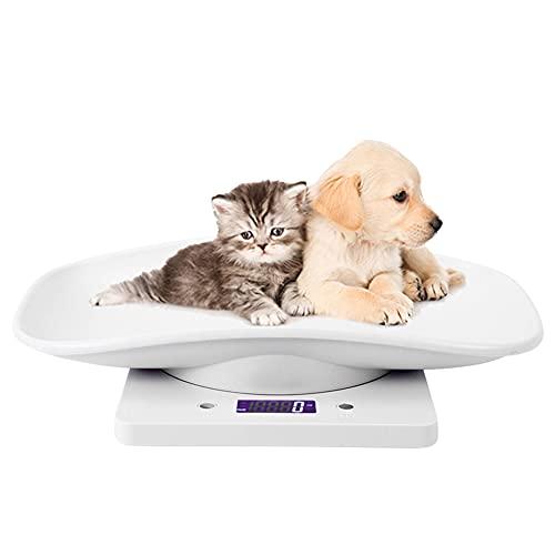 Bilancia Elettronica per Animali 10kg / 1g Bilancia Digitale Domestici per Cuccioli e Gattino Multifunzione Bilancia da Cucina con Schermo Digitale LCD (Bianca)