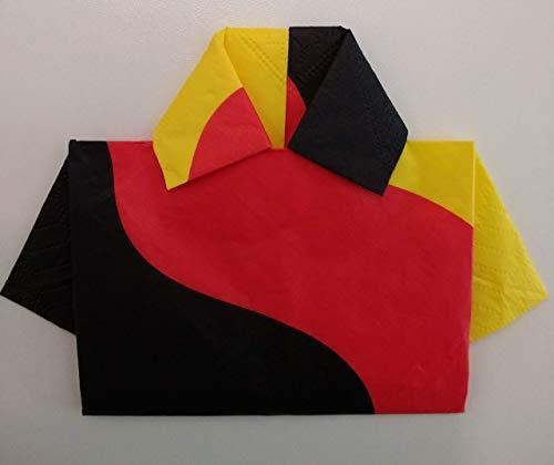 Servietten für den Fussball Fan, im 6er Set, zum Trikot gefalten in den Deutschen Nationalfarben