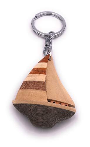 H-Customs Boot Segelboot Schiff Segeln Holz Edel Handmade Schlüsselanhänger Anhänger