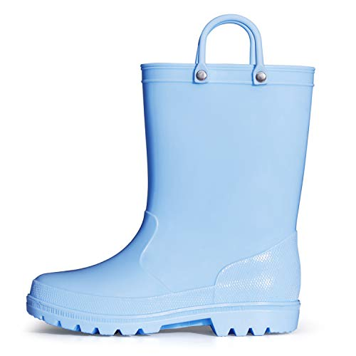 K KomForme Kids Rain Boots, Toddler Rain Boots Waterproof with Memory Foam Insole and Easy-on Handles Blue