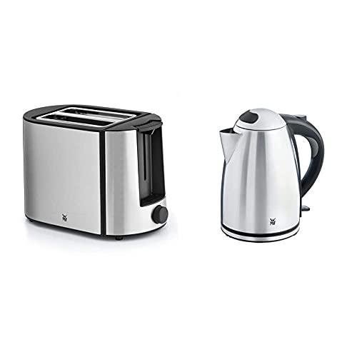 WMF Bueno Pro Toaster Edelstahl, Doppelschlitz Toaster mit Brötchenaufsatz, 870W & Stelio Wasserkocher Edelstahl 1,7l, elektrischer Wasserkocher mit Kalkfilter, 2400 W, Wasserstandsanzeige beleuchtet