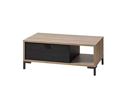 Meubletmoi salontafel, rechthoekig, met schuiflade van hout, zwart en beige, chique decoratie, collectie Ariana